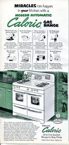 1952 Caloric Gas Range Ad - 1950s Kitchen Appliances Retro