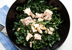 Kale Salad with Tuna and White Beans: Toss 3 oz. canned albacore tuna with ¾ cup drained white beans and 4 cups slivered kale. Toss with 1½ Tbsp. Sherry Vinaigrette (click for recipe).