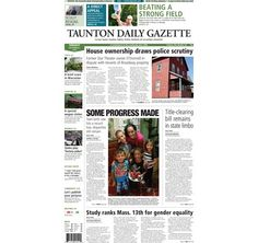 The front page of the Taunton Daily Gazette for Tuesday, Sept. 2, 2014.
