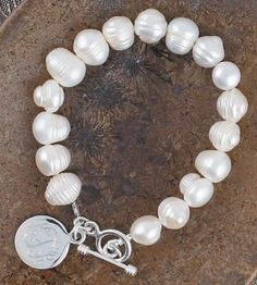 "monogrammed freshwater pearl bracelet 7"" with sterling charm $60.99"