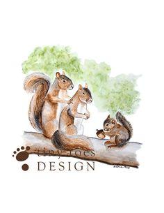 "Squirrels, Squirrel Art Print, Woodland Nursery, Baby Room Decor, Giclee Watercolor Print - 8.5"" x 11"""
