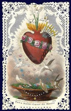 i love this image of the immaculate heart of Mary. such a potent symbol. in this case, enhanced by lace