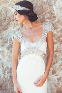 Anna Campbell beaded silk wedding gown. Featured on our Dress pick of the day... Yay or Nay? See what they have to say .. here https://www.facebook.com/weddingchicks/posts/10152363842132672