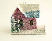 Vintage Christmas Ornament ~ Mica Putz House Ornament