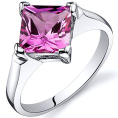 Striking 2.25 carats Pink Sapphire Engagement Ring in Sterling Silver Rhodium Finish Available in Sizes 5 thru 9  $149.95 $29.99