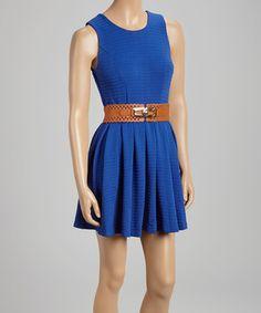 Look what I found on #zulily! Royal Blue Belted A-Line Dress by XTaren #zulilyfinds