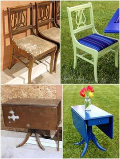 Before and after recycled painted deck furniture