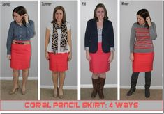 Coral Pencil Skirt 4 Ways | The Style Files