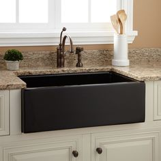 "Photos: 30"" Risinger Fireclay Farmhouse Sink - Smooth Apron 