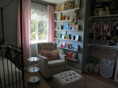 Library Wall + Open Closet in the Nursery