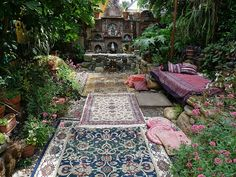 outdoor garden space with carpets