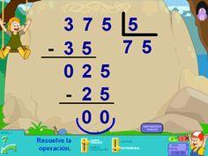 Operaciones: divisiones en Segundo ciclo de Primaria con Pipo Online #divisiones #matemáticas #math #educación #PDI #online #niños
