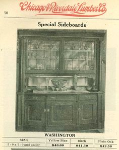 Leaded glass sideboard from 1910 Chicago Riverdale Lumber Co catalog. Available in pine, birch and plain oak.