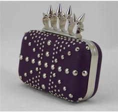 Studded Union Jack Knuckle Clutch - Purple - AU00185