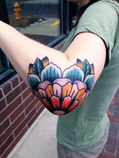 Tattoo by KC LANGE  #flower #tattoo #tattoos #KCLange #traditional #elbow #mandala