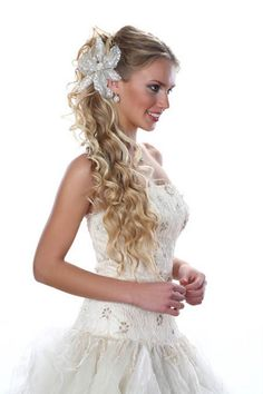 Side Swept Hairstyle with Floral Tiara