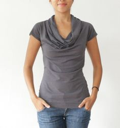 Organic Cowl Neck, Womens Blouse Eco Friendly Modal Bamboo Cotton Jersey, Dark Gray, Navy, White - SARA