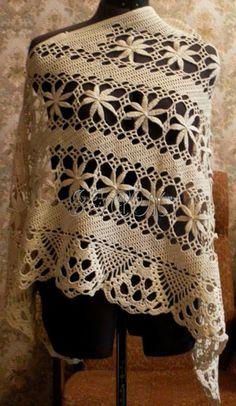 Ivelise Feito à Mão: Lindo Xale Em Crochê! Beautiful crochet shawl!