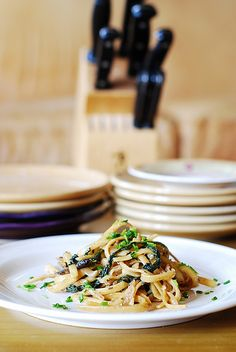 Creamy mushroom pasta with caramelized onions and spinach