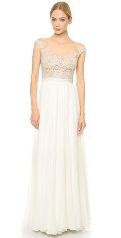 Reem Acra Juliet Embroidered Illusion Off Shoulder Gown | SHOPBOP