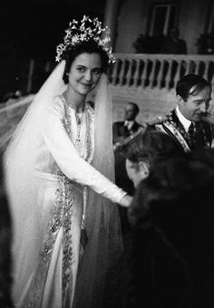 Countess Geraldine Apponyi of Hungary greets guests after the wedding to King Zog I of Albania (right), in Tirane Albania, April 1938. She is hereafter known as Geraldine, Queen of Albania.