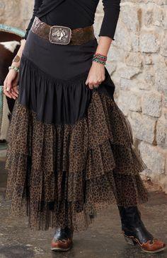 Ruffled, leopard skirt.