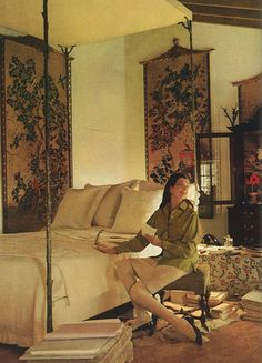 Pauline de Rothschild at her bedroom retreat at Mouton. Photo by Horst.