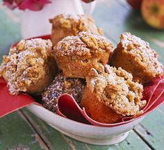 Streusel Topped Apple Muffins--Serve these cinnamon and clove spiced muffins with mugs of warm apple cider. http://www.recipe.com