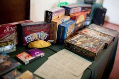 I like the idea of a board game table (and game menu?) - its a gamer wedding after all!