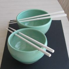 Ceramic Rice Bowls Handmade Pottery Set of 2 Turquoise #home #decor