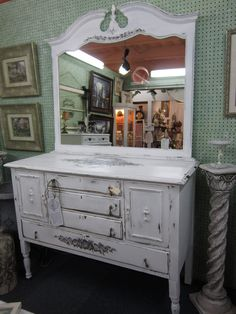 Antique Vintage White HANDPAINTED Shabby Chic Buffet Dresser with Mirror 2 pieces. $800.00, via Etsy.