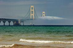 bridge to nowhere, foggy Mackinac Bridge, Mackinaw City, Michigan