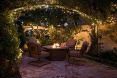 patio design, fire pits, interior design, outdoor space, string lights, backyard, patios, courtyard, garden