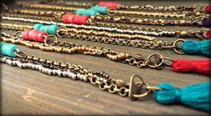 "Beaded Boho chic tassel bracelet, antique metal beads with Ecuadorian ceramic color bead and tassels. Glamurous Gypsy Bracelet.""Andinas"" #bracelet #tassel #metalbeads"