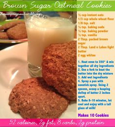 Brown Sugar Oatmeal cookies -healthy and only 52 calories per cookie