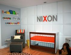 Check out these modern digs -- we love the Lucite side table and that futuristic-looking crib. Plus, isn't the name sign super-cool? Nixon's a lucky guy! Submitted by Vanessa A.