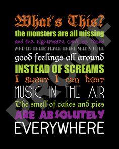 Printable The Nightmare Before Christmas Lyrics by JaydotCreative