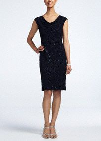 You will light up any occasion and dance floor in this stunning sequin lace dress!  Cap sleeve bodice features all over sparkling sequin lace detail and draped neckline.  Gathered fabric at side helps shape a flattering silhouette.  Fully lined. side zip. Imported poly/spandex/nylon blend. Hand wash warm.