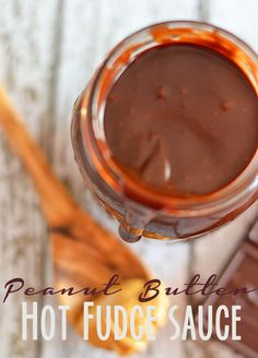This peanut butter hot fudge sauce comes together in 15 minutes and is so much better than the stuff you buy at your grocery store! #recipes...