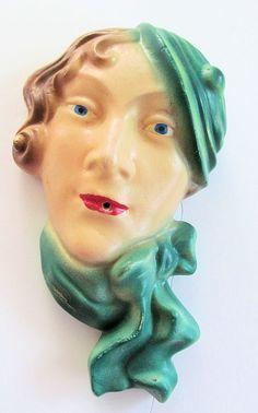Stylish ART DECO LADY   Vintage Antique by TextilesandOldThings, $110.00