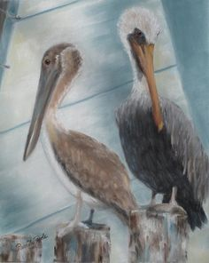 """Pelicans.  """"Pier Pals,"""" pastel painting by Pamela Poole. Original, $300, prints and note cards available at pamela-poole.fineartamerica.com"""