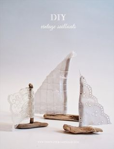 @Debbie Arruda Arruda Shepherd Kines and Tulle used our #driftwood to create these lovely #DIY #vintage sailboat #wedding favors!  Thank you @Julia Erickson Bride - Handmade Wedding Blog for sharing the tutorial!
