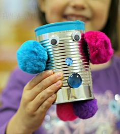 creating magnetic robot art with tin cans and craft supplies