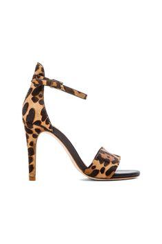 Leopard Calf Hair Open Toe Heel