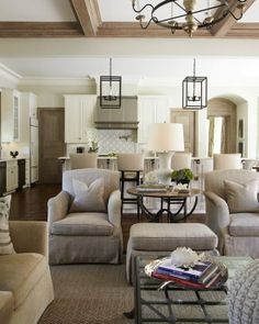 Layered neutral living room interior, chair, living rooms, color, light fixtures, family rooms, beam, live room, open kitchens