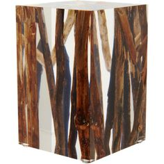 Handcrafted acrylic glass cube with embedded branches and driftwood cut, sanded and hand polished to a perfect transparency.