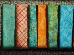 Close up Batik fabrics for baby boy quilt