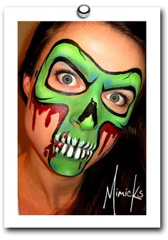 green skull mask by mimicks face painting