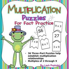 Multiplication Puzzles for Math Centers from LeahPopinski-SumMathFun on TeachersNotebook.com -  (28 pages)  - Multiplication Puzzles using inverse operations. Perfect for fact practice, math centers, early finishers, warm-ups, and more. Self-checking!