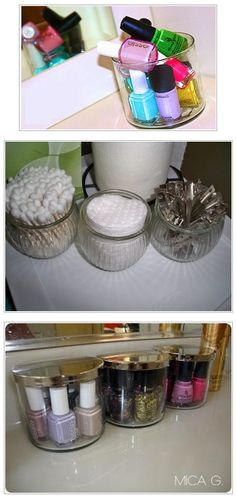 Reuse old candle jars to organize small items.